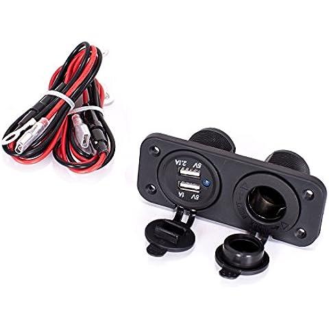 Beetrie Caricabatteria per auto,Portatile Universale 12V Auto Accendisigari Splitter Doppia