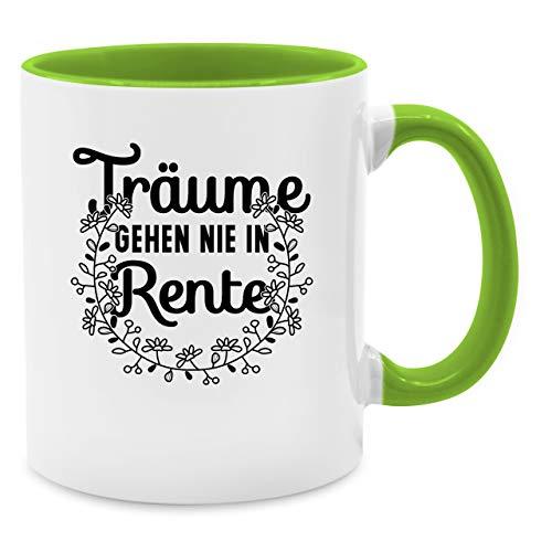 Tasse Berufe - Träume gehen nie in Rente - Unisize - Hellgrün - Q9061 - Kaffee-Tasse inkl. Geschenk-Verpackung