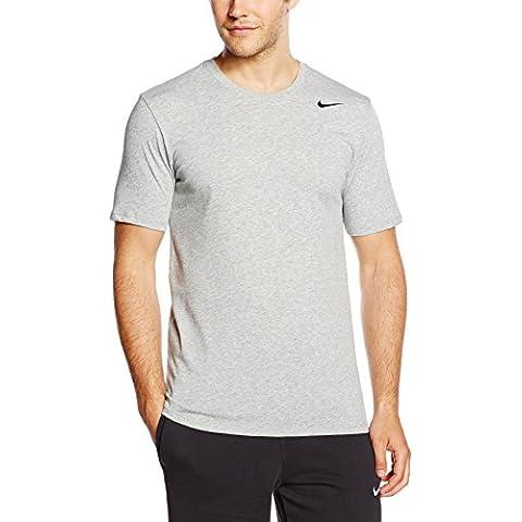 Nike DRI-FIT SS Version 2.0 TEE - Camiseta para hombre, color gris/negro (dark grey heather/black), talla M
