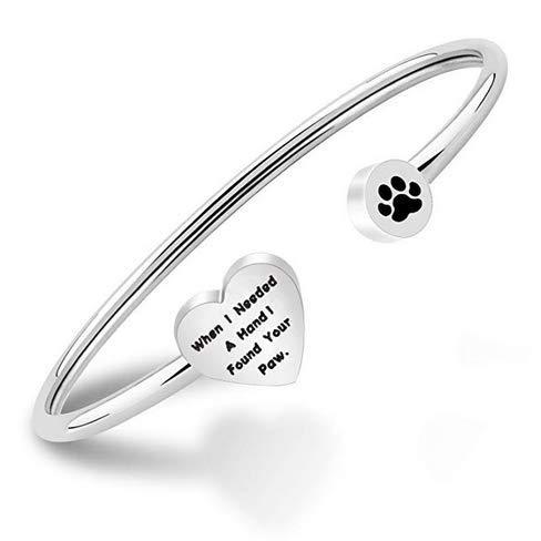 Ensianth - Braccialetto rigido con impronta di zampa, per gli amanti dei cani con scritta 'When I Needed a Hand I Found Your Paw' e Acciaio inossidabile, colore: Argento, cod. NA