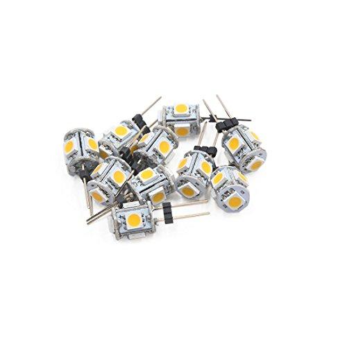sourcing map 10pcss G4 Ampoule Tableau Bord 5 LED SMD 5050 Blanc Chaud intérieur Voiture