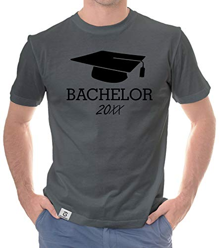Shirtdepartment - Herren T-Shirt - Uni-Abschluss Bachelor mit Wunschjahr dunkelgrau-schwarz M