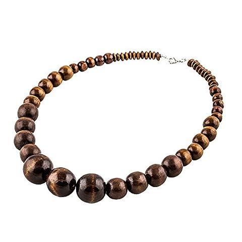 Evbea Collier en perles de bois