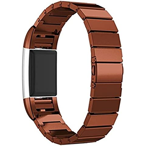 Bands for Fitbit Charge 2, SoftFloat Universal Stainless Steel Watch Band Strap Bracelet + Connector for 2016 Fitbit Charge 2 Heart Rate + Fitness Wristband, Smart Watch NOT Included, For Fitbit Charge 2 (Brown)