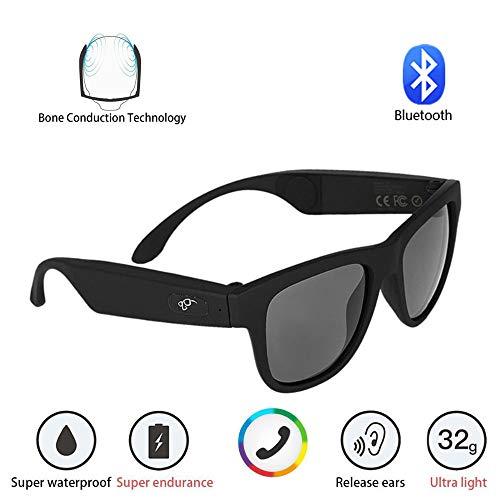 WMWHALE Knochenleitung Kopfhörer Brille Drahtlose Bluetooth Smart Polarisierte Audio Sonnenbrille Stereo Musik wasserdichte Sport Headset,Black