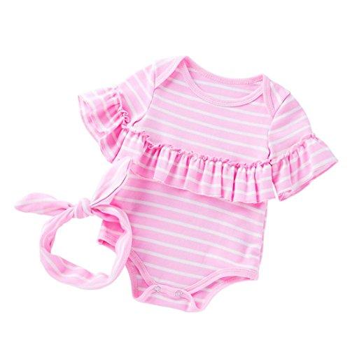 sunnymi 2 tlg Baby Mädchen Streifen Falbala Strampler + Stirnbänder Kostüm Sommer Für 3-18 Monate (6-12 Monate, Rosa)