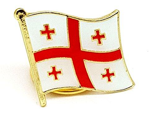Land Georgien Flagge (National Land Flagge Georgien Emaille Brosche | Hohe Qualität Metall Emaille Pin Badge Revers Brosche Neuheit zum Sammeln Geschenk Schmuck für Kleidung Shirt Jacken Mäntel Krawatte Hüte Kappen Taschen Rucksäcke)