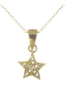 Bella Carina Damen und Kinder Anhänger kleiner Stern mit Zirkonia und Kette 925 Sterling Silber vergoldet