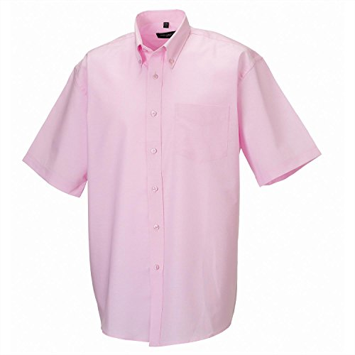 Russell Collection Short sleeve easycare Oxford shirt Classic Pink