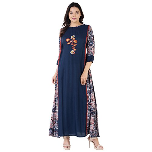 Khushal Rayon Printed Long Lenght Designer Dress With Beautiful Hand Work ,...