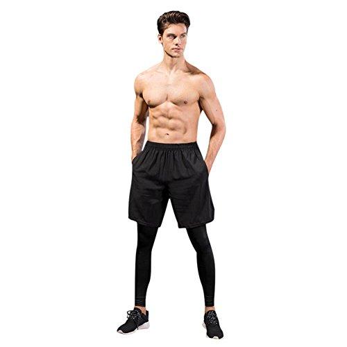 Herren Sport Yoga Lange Hosen Zwei Stücke Elastische Freizeit Fitness Training Atmungsaktiv Schnell Trocken Bodice Stretch Leggings von Hankyky (Strumpfhosen Klettern Spandex)
