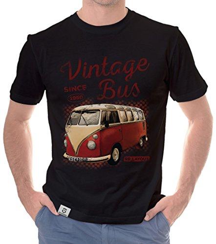 Herren T-Shirt - Vintage Bus - Since 1950 Schwarz-Rot XXL