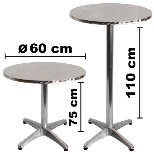 Torrex 30152 Bistrotisch / Stehtisch klappbar aus Aluminium mit Edelstahlplatte - Höhe 75cm oder 110cm, Ø 60cm - 3
