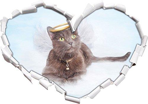 Katzen-Engel auf einer Wolke im Himmel Kunst Buntstift Effekt Herzform im 3D-Look , Wand- oder...