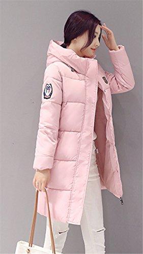IWFREE Damen Elegante Slim Fit Stil Winter Jacke Mantel Lange Trenchcoat Parka Lange Absatz Jackett Wollmantel Rosa