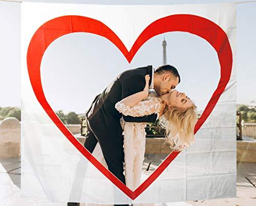 MIK Funshopping Set Hochzeit-Tradition Hochzeits-Herz zum Ausschneiden - Laken mit Herzmotiv zum Zerschneiden für Braut und Bräutigam