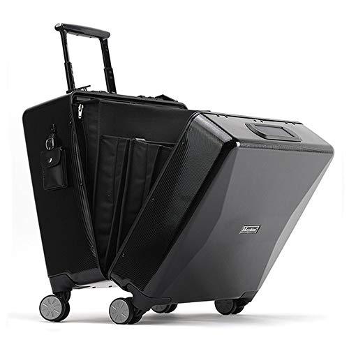 FGKING Boarding Trolley, Fingerprint Unlocking Trolley, Solar Handy Aufladen High-End Business Travel Solar Aufladen Handgepäck,Schwarz