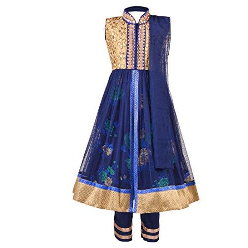Aarika Girl's Party Wear Churidar Suit Set (1594-BLUE_40_12-14 Years)