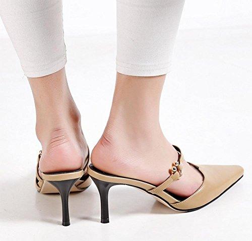 Sommer Sandalen Frauen Metallschnalle zeigte Stilett Sandalen und Pantoffeln apricot
