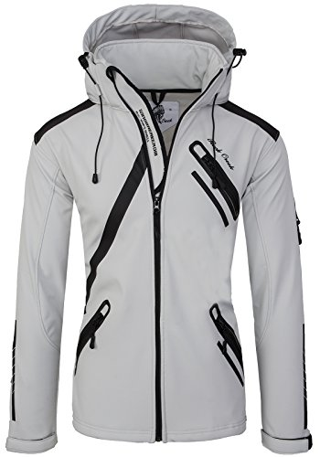 Rock Creek Herren Softshell Jacke Outdoor Regenjacke Softshelljacke Windbreaker Laufjacke Wanderjacke Funktions Sport Jacken H-127 Lightgrey XL