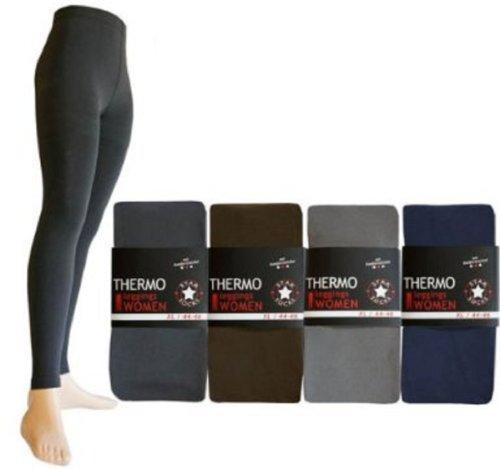2 Stück Thermo-Legging weich innen angeraut Komfortzwickel S, M, L, XL, XXL schwarz, marine, braun, anthrazit Grau