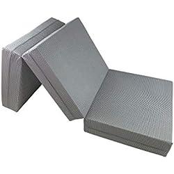Joyfill - Matelas pliable/Lit d'appoint pliant Deluxe - fabriqué en Allemagne - motifs variés - 180 x 70 x 15 cm - 914 vichy gris métal