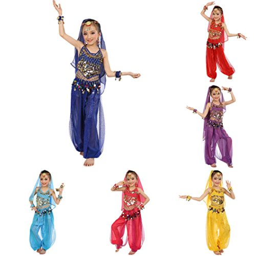 SHOBDW Childrens Performance Clothing, Girls Indian Helly Dance Show Tops + Pants Suits Kids Backpacks Handmade Egypt Cloth Carnival Party Costumes Gifts