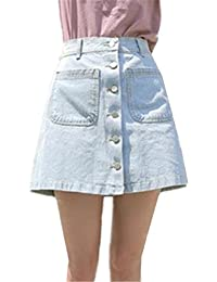 671bc17d969b BESTHOO Mini Jupe En Jean Femme Jupe Universite Jupe Avec Poches Jupe  Parapluie Hipster Jupe Avec