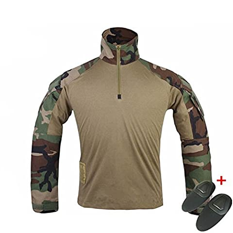 H World EU EMERSON Tactical Airsoft Paintball Army Military Shooting BDU Men Gen3 G3 Combat Long Sleeve Shirt with Elbow Pads (Woodland, S)
