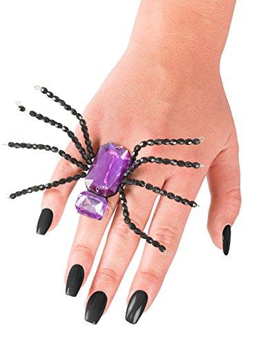 Generique - Anillo araña Negro y Violeta Halloween