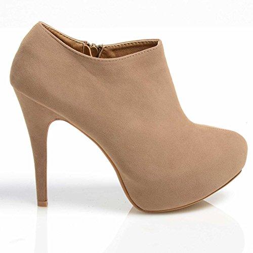 Damen Stiefelette Plateau High Heel Stiletto Schuhe Hautfarben - Nude Suede