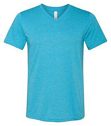 Canvas Kurzarm-t-shirt (Bella + Canvas Unisex Triblend Kurzarm V-Ausschnitt T-Shirt (3415C)-Aqua Triblend, XL)