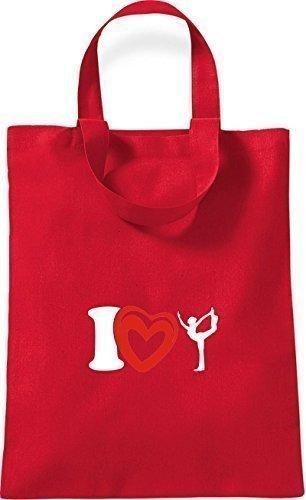 ShirtInStyle kleine Baumwolltasche I Love Yogo Joga Sport Gymnastik Farbe Rot rot