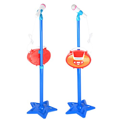 LVPY Kinder Karaoke Standmikrofon, Karaoke Player Mikrofon Verstellbarer Standfuß Kinder Mikrofon Spielzeug, Verstellbare Höhe 45-97cm, Blau