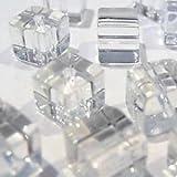 50pezzi 6mm a forma di cubo, valore cristallo perline di vetro, colore: trasparente a3048