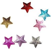 Parches de lentejuelas con forma de estrella, 5 unidades, se pueden coser o plancharlos para adherirlos a la tela