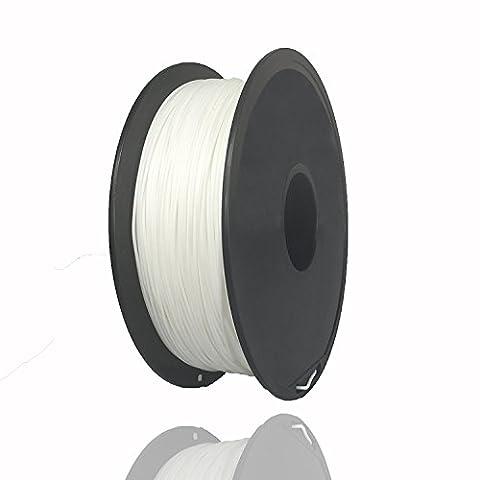 PLA 3D Printer Filament 1.75 mm Diameter Extrusion 1 kg (2.2 lbs.) Per Spool White HICTOP