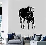 Cchpfcc Pferde Fohlen Tiere Familie Vinyl Wandtattoo Aufkleber Wohnkultur Wohnzimmer Kunst Wandbild Tapete Wandbild Home Size57 * 86 Cm