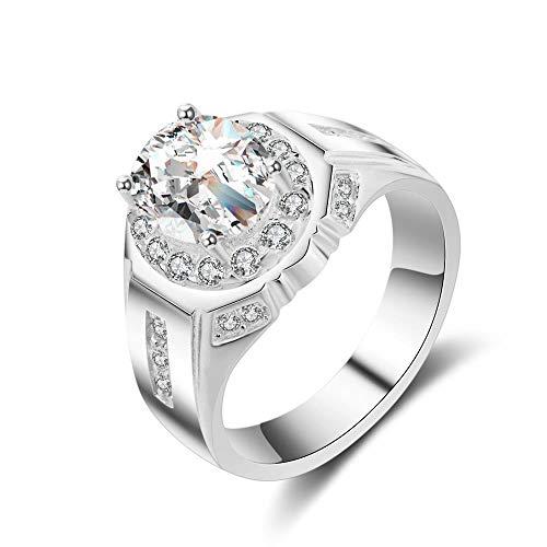 SHIYID Eiförmiger künstlicher Diamantring für Herren, vergoldeter Schmuck