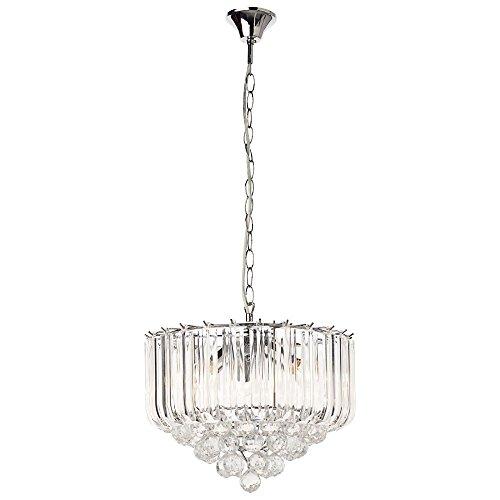 LED Hänge Leuchte Chrom Beleuchtung Acryl Kristall klar Wohn Zimmer Diele Flur - Kristall Klar Beleuchtung