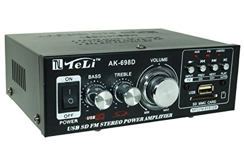 AMPLIFICATORE AUDIO STEREO 12V 220V AUTO CASA USB SD MP3 RADIO FM AK698D