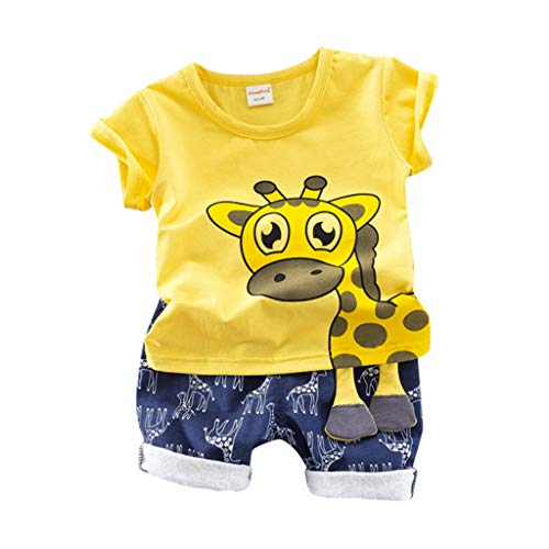 Julhold Kleinkind Baby Kinder Jungen Niedlich Lässig Giraffendruck Schlank Oberteile T-Shirt Shorts Hosen Outfits 0-3 Jahre