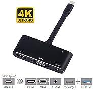OUYAWEI USB C naar HDMI Adapter 4K 5 in 1 Type-C naar HDMI/VGA/Audio/USB 3.0 Port+USB C Female Port(PD) Converter voor MacBo