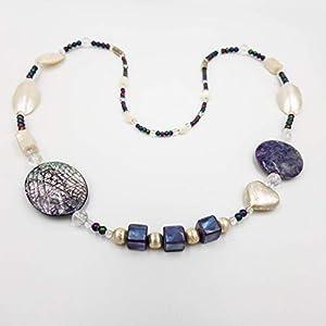 charakterperle Nautiluskette mit Armband 4 cm – Kettenlänge 54 cm – blau lila violett – Schmuckwerkstatt Deutschland