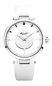 Kenneth Cole - KC2609 - Transparency - Montre Femme - Quartz Analogique - Cadran Blanc - Bracelet Cuir Blanc