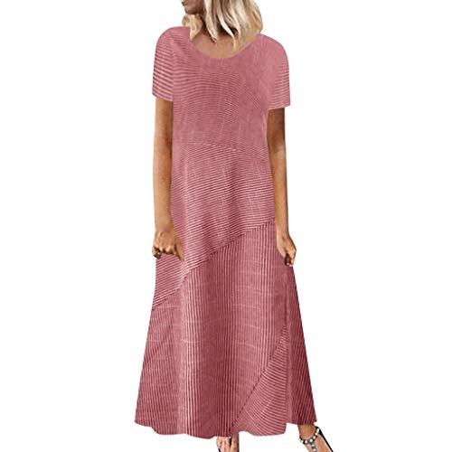 Lulupi Damen Böhmischen Leinenkleid Lang Elegant Blumen3/4-Arm Maxikleid Stripe Geblümtes Freizeitkleider Sommerkleider - Pink Stripe Dress Shirt