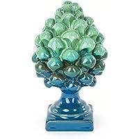 Ceramiche Azzaro & Romano Caltagirone Pigna bicolore blu e verde in ceramica fatta a mano, i colori del mare
