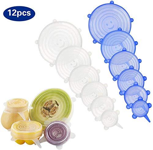Coperchi elasticizzati in silicone - confezione da 12 coperchi riutilizzabili, durevoli ed espandibili, in silicone per alimenti freschi e avanzi - mantiene il cibo fresco