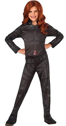 erdbeerloft - Mädchen Karnevals Kostüm Black Widow, Schwarz, Größe 128-140, 8-10 Jahre (Black Green Lantern Kostüme)