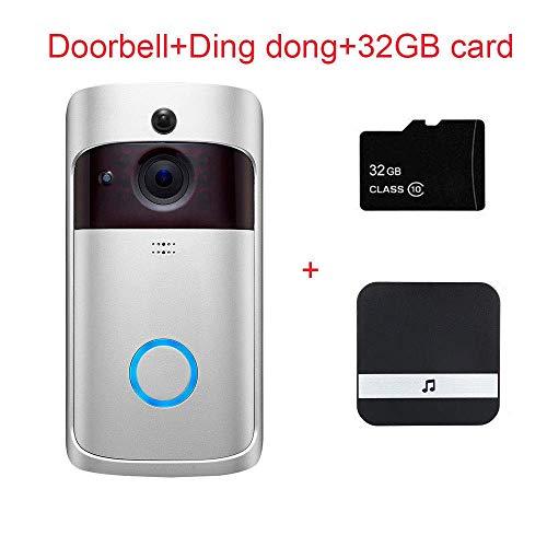 Sonnette Video WiFi Intelligente Sans Fil Caméra HD 720P avec Vision Nocture PIR Video Doorbell Étanche APP Contrôle par IOS Android iPad avec 32G TF + Carillon (Argent)